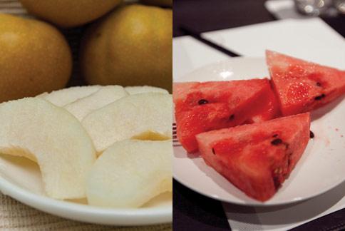水梨和西瓜都是屬於涼寒性水果,生食具有降火氣的作用。(攝影/黃志文)