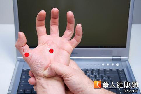按摩穴位可減緩手腕疼痛。