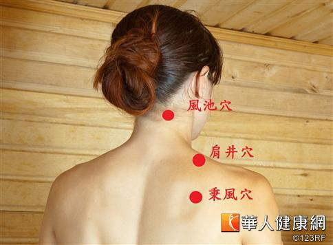 肩頸痠痛,可按摩穴位舒緩。