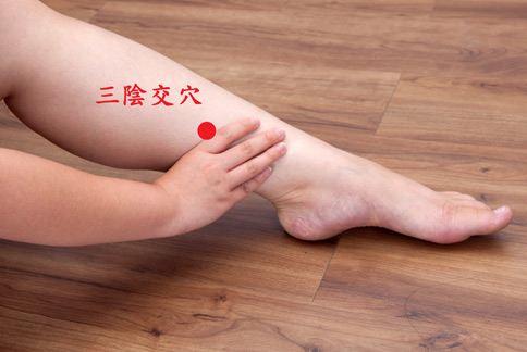 三陰交穴在小腿內側,腳踝骨的最高點往上約四根手指橫著的寬度處。