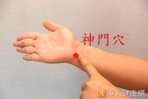 手掌內側從小指延伸下來,到手掌根部末端的凹陷處就是神門穴。