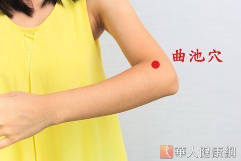 曲池穴位置約在肘關節彎曲成直角,在肘橫紋的外側頭凹陷處。