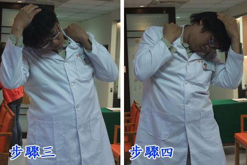 健頸操;步驟三:頭部往右前延展,步驟四:頭部往左前延展。(圖片提供/童綜合醫院