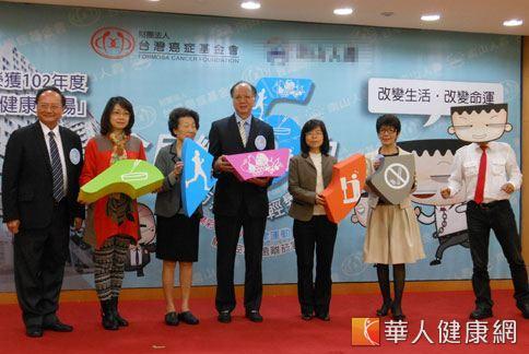 台灣癌症基金會和企業合作,推廣職場的「全民練5功」概念,提升民眾對防癌的健康意識。(攝影/駱慧雯)