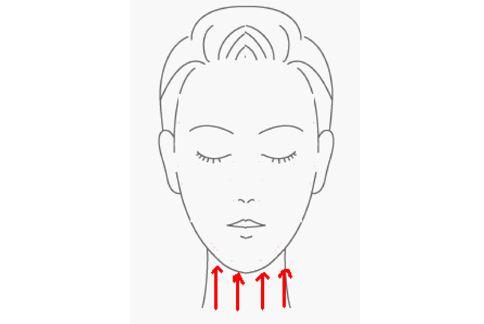 由下往上按摩頸部,有助於預防頸紋生成。(圖片提供╱林怡菁醫學美容師)