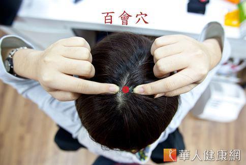 在鼻尖往上和耳尖往上至頭頂的交會點,有一微現凹形處,即是百會穴。