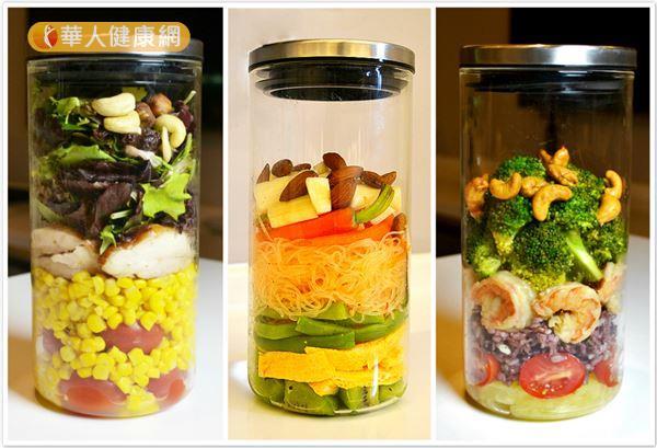 從歐美開始流行的玻璃罐沙拉風潮也吹進台灣,一起動手來做做看這種健康又美麗的玻璃罐沙拉吧!(攝影/洪毓琪)