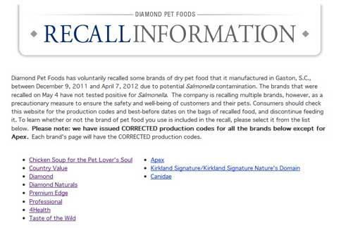 美國寵物食品大廠鑽石公司(Diamond)在官網上宣布,回收9大系列品牌的寵物飼料。(圖片/擷取自「鑽石公司官網」)