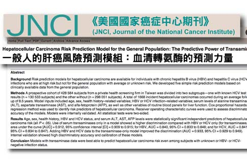 國內研究團隊研究發現,透過普通血液檢測,觀察GOT/GPT濃度,即可預測未來5年內和10年內罹患肝癌的機率,且準確度可高達9成。(圖片/取材自「美國國家癌症中心期刊JNC」網站)