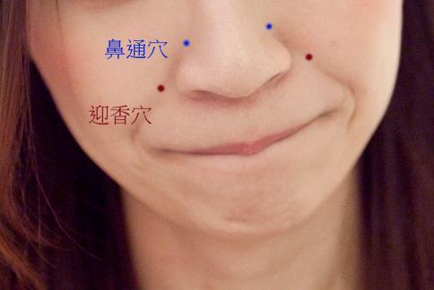 鼻通穴與迎香穴示意圖。(攝影/黃志文)